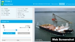 A screengrab from the website Marinetraffic.com listing the specifications of the Crimean ship Titan-2