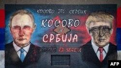 """Një murale në Beograd me mbishrkimin """"Kosova është Serbi"""""""