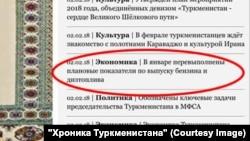 """Издение """"Хроника Туркменистана"""" опубликовало скришот с сайта ТДХ от 2 февраля."""