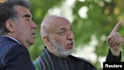Президент Таджикистана Эмомали Рахмон (слева) и президент Афганистана Хамид Карзай.
