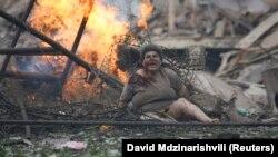 გორი რუსეთის ავიაციის დაბომბვის შემდეგ, 9 აგვისტო, 2008 წ.