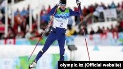 Казахстанский лыжник Алексей Полторанин на гонках во время Олимпиады в Ванкувере.