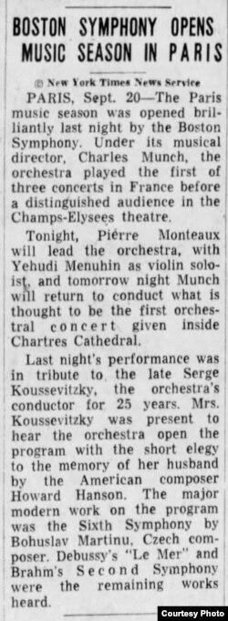Articol din New York Times despre turneul BSO la Paris și Yehudi Menuhin