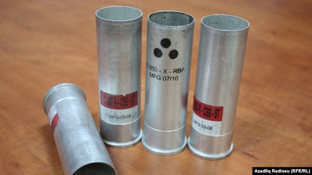 Tear-gas canisters used to disperse unruly crowds in Ismayili in January