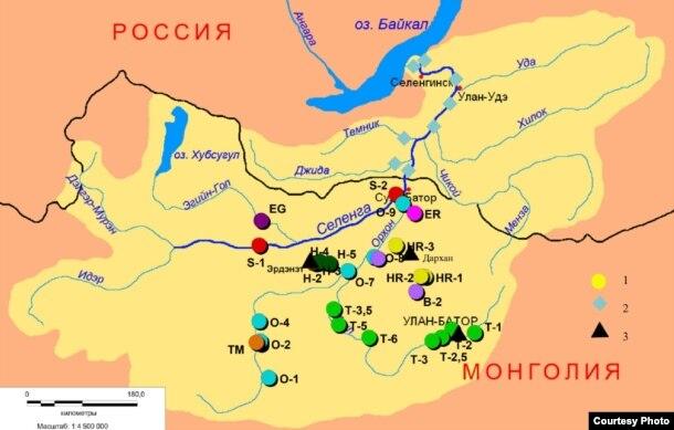 Карта строительства ГЭС на территории Монголии