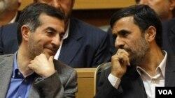 Many of his opponents believe Ahmadinejad is seeking to put close confidant Esfandiar Rahim Mashaei (left) in the presidential post.