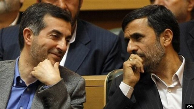 Many of his opponents believe Ahmadinejad is seeking to put close confidant Esfandiar Rahim Mashaei (left) in the presidential post.