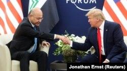 U.S. President Donald Trump and Iraqi President Barham Salih meet in Davos, Switzerland, on January 22.