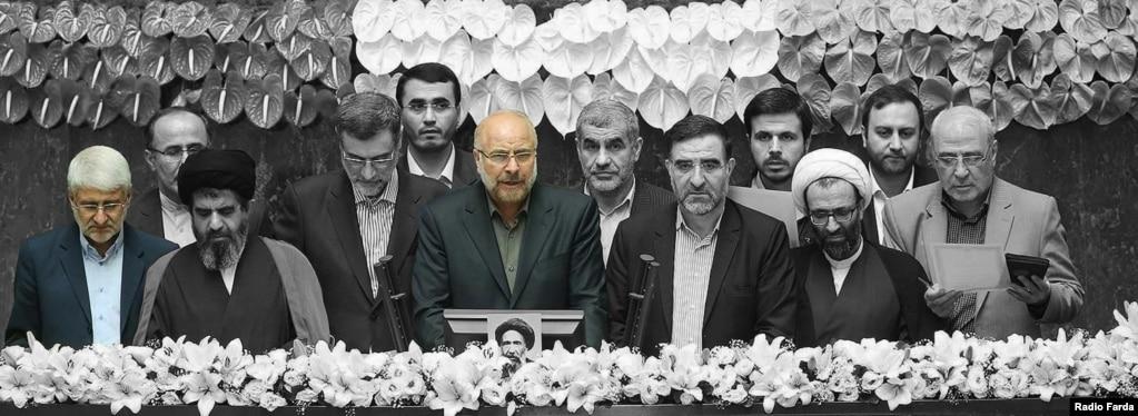 محمدباقر قالیباف و محمدحسین فرهنگی در مراسم سوگند هیئت رئیسه مجلس