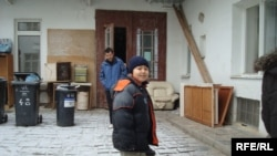 Eleven-year-old Eleugali-Zharylkasyn Nurgaliev plays outside the dormitory in Brno. He and his family face imminent deportation.