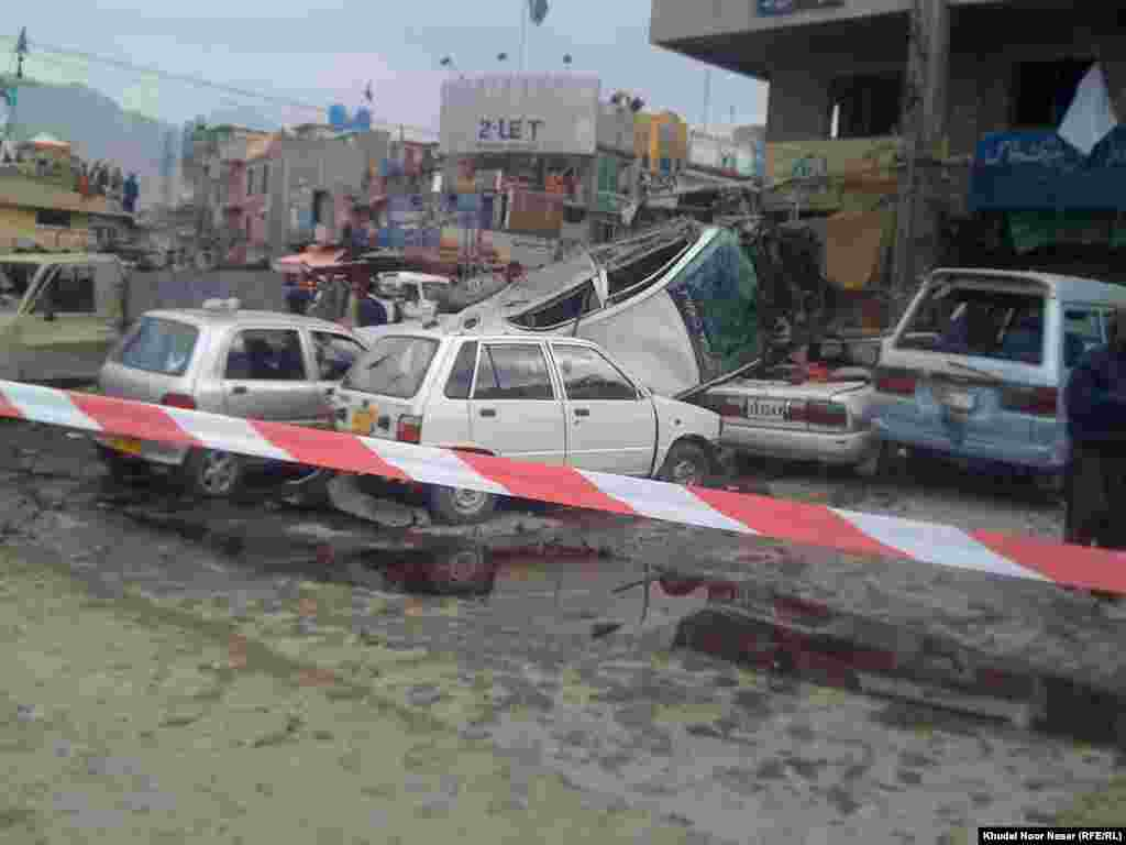 Police tape marks the site of the first bomb blast in Quetta, which killed 11 people and injured 27.