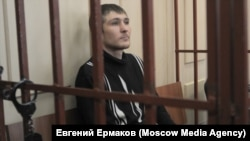 Maksim Panfilov appears in Moscow's Basmanny district court in April 2016.