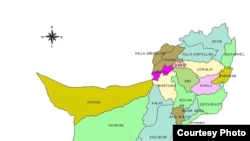 Пәкістанның Белуджистан провинциясының картасы.