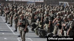 Armenia - Soldiers of the Armenian Peacekeeping Brigade lined up for an exercise monitored by NATO, September 2015. (Photo courtesy of the U.S. Embassy in Armenia.)