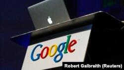 Америкалық Apple және Google компанияларының логосы. Көрнекі сурет.