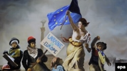 """Свобода на баррикадах"", плакат на Майдане 21 март 2014"