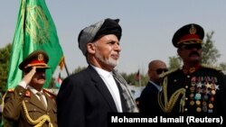 Afghan President Ashraf Ghani attends Afghan Independence Day celebrations in Kabul on August 19.