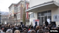 Students of the Sarajevo School of Science and Technology gathered on March 3 to show support for Ejup Ganic.