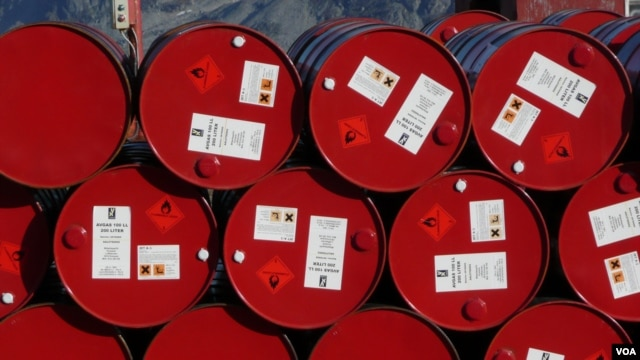 Barrels of oil at a factory in Iran (file photo)