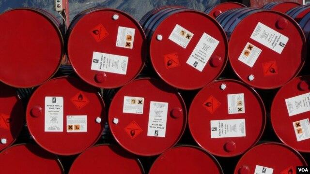 Oil barrels at a factory in Iran (undated)