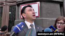 Armenia -- Republican Party spokesperson Eduard Sharmazanov talks to the press, Yerevan, 17May2017