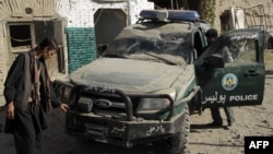 The site of a deadly suicide bomb attack in Kandahar on November 8