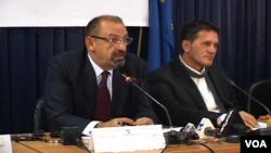 Dino Asanaj (left) was director of the board of the Kosovo Privatization Agency