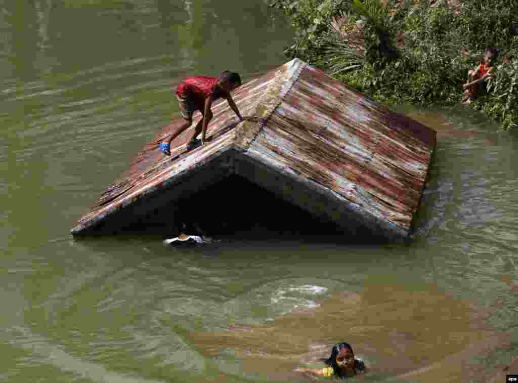 Young Filipino typhoon victims swim in a swelling river in the typhoon-hit town of Taft, Samar island, Philippines. Typhoon Hagupit killed at least 27 people and displaced more than 1 million people in the eastern and central provinces. (epa/Francis R. Malasig)