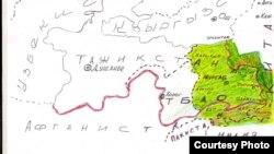 Осмон Атабаев тарткан карта. Бул картадан памирлик (сарыколдук) кыргыздар жашаган аймактар көрсөтүлгөн.