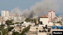 Палестина -- Аба соккусунан кийинки түтүн, Газа шаары, 21-июль, 2014.