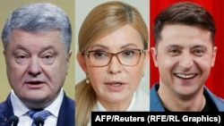 A combo photo shows presidential candidates Petro Poroshenko,Yulia Tymoshenko and Volodymyr Zelenskiy