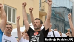 Davor Dragicevic, father of late David Dragicevic, 21, leads a protest in the Bosnian town of Banja Luka.