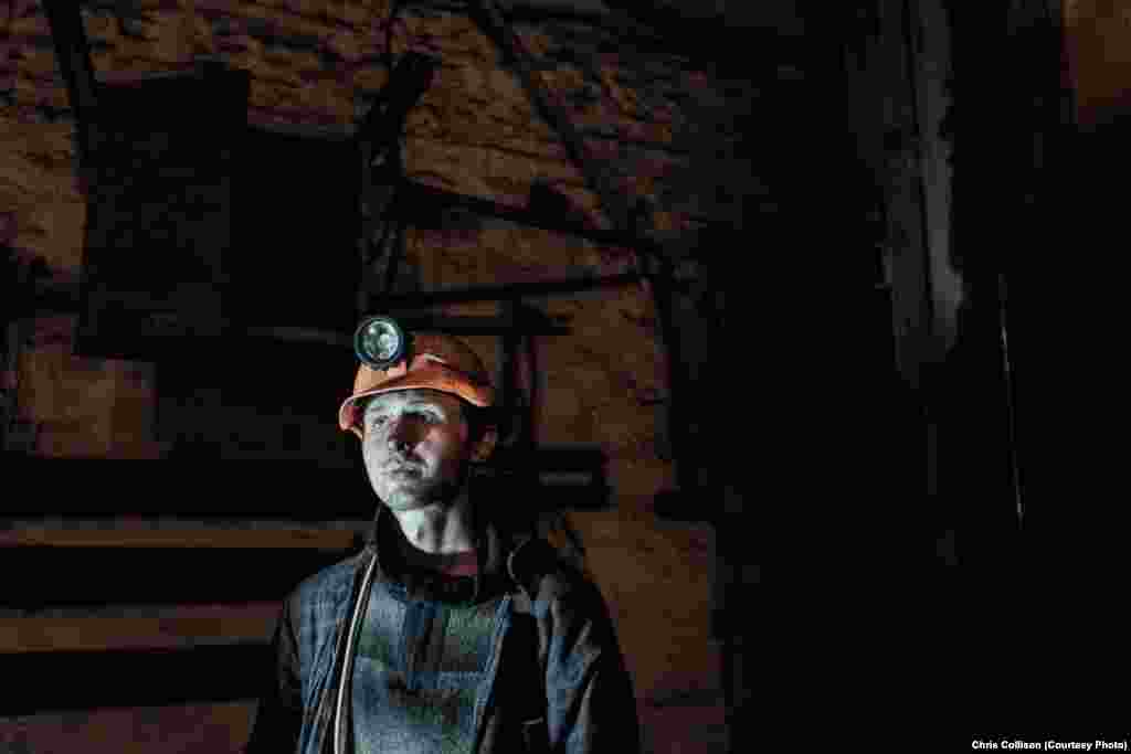 "A young miner in the Ukraina mine. ""Soon we won't even be able to buy bread,"" said Vera Nikolaivna, a pensioner whose husband worked as a miner."
