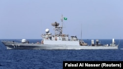 FILE - A Saudi warship is seen during ÒGulf Shield 1Ó exercise by members of Royal Saudi Navy, east of Saudi Arabia, October 9, 2016