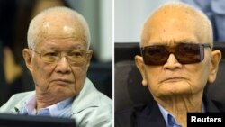 Кхієу Сампхан (ліворуч) і Нуон Чеа вже відбувають довічні терміни позбавлення волі за інші злочини, скоєні під час правління «Червоних кхмерів»
