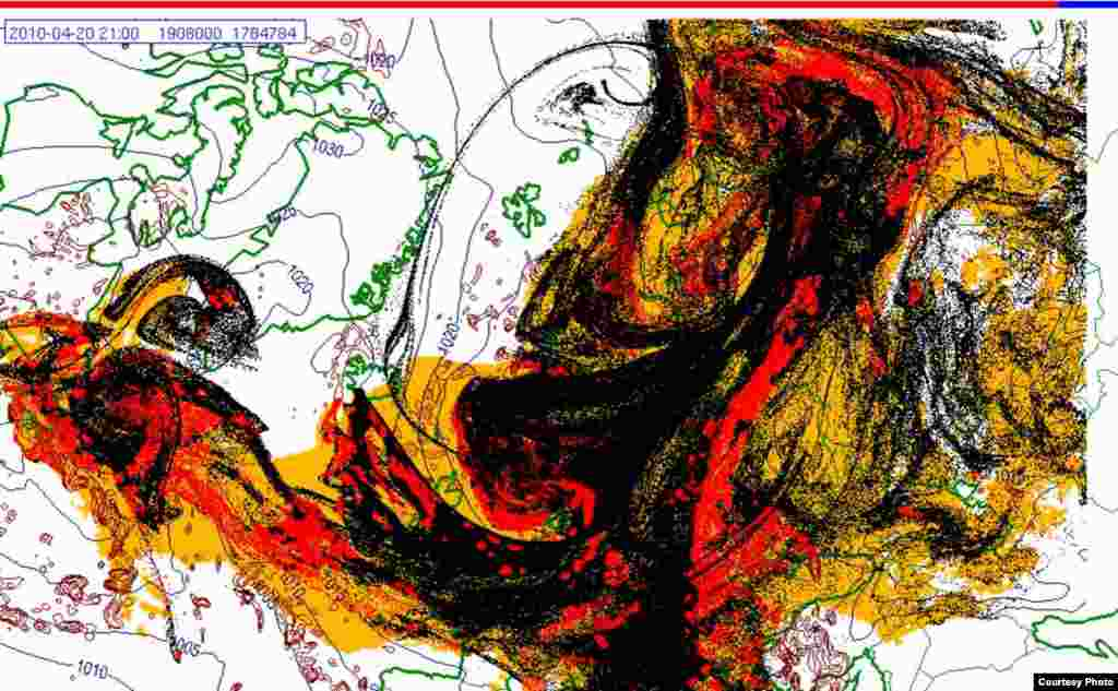Projected spread of Icelandic ash cloud (20.4. 2100 UTC) - These images show a projection of the movement of the ash clouds from the Iceland volcanic eruption moving over Europe. The colors on the map represent: yellow: ash that has fallen by itself red: ash that has fallen by precipitation black: the actual ash cloud Source: Norwegian Meteorological Institute