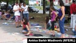 Zagreb, ulični market polovnih udžbenika, foto iz arhive