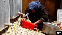 سيدة نازحة من الموصل الى النجف