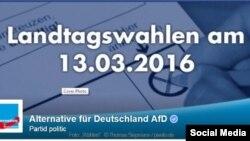 Alternative für Deutschland AfD, propagandă electorală pe Facebook