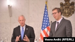Serbia - President of Serbia Aleksandar Vucic and U.S. Senator Ron Johnson in Belgrade, August 2017.