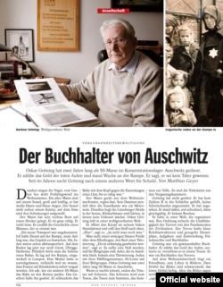 Pagina din Der Spiegel cu istoria lui Oskar Gröning