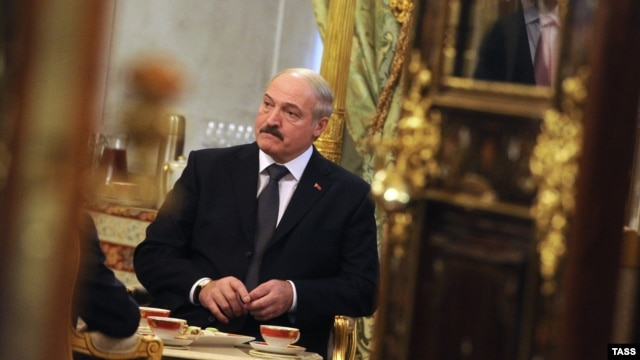 Belarusian President Alyaksandr Lukashenka at the Collective Security Treaty Organization summit in Moscow on December 19.