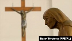 A statue of Mother Teresa is displayed in Catholic Cathedral in Pristina, Kosovo.