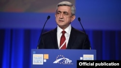 Ireland - Armenian President Serzh Sarkisian addresses a European People's Party summit in Dublin, 06Mar2014.