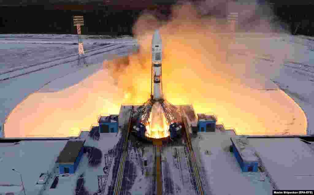 """Няўдалы запуск расейскай ракеты Саюз 2.1b на касмадроме """"Ўсходнім"""" у Амурскім краі, 28 лістапада."""