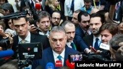 Orbán Viktor nyilatkozik az Európai Tanács ülése után 2020. február 21-én Brüsszelben, ahol az Európai Unió következő, hosszú távú költségvetéséről tárgyaltak.