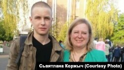 Alyaksandr Korzhych (left) was found hanged at the Pechy military training base less than five months after being drafted.