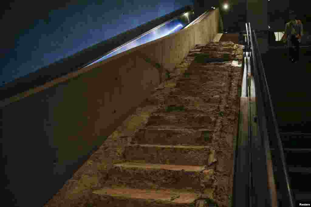 "The ""Survivors' Stairs,"" a remnant of a staircase that was the route to safety for many people in the World Trade Center at the time of the attack"