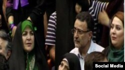 Former political prisoner, Mostafa Tajzadeh and his wife were present at the Rouhani campaign event.