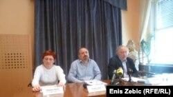 Biljana Bašić, Anton Filić, Zdenko Duka na konferenciji za novinare. Zagreb, 5.4.2012, foto E. Zebić.